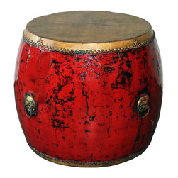 Hubei Red Drum - Large red ceremonial drum originally used in village celebrations in southern China. Use as an accent table with or without a glass top.
