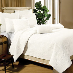 None - Bamboo Whisper White 3-piece Quilt Set - This luxurious white quilt set features a textured bamboo pattern for understated charm that will fit in with any decorating style. This 100 percent cotton set includes two pillow shams and a quilt that fits queen- and full-sized beds.
