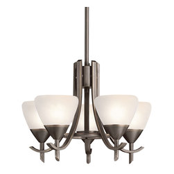 Kichler Lighting - Kichler Lighting 1678OZW Chandelier - Olde Bronze with Satin Etched White Glass - Bulb Type: CAND. Bulb Base: Candelabra (E12). Bulb Count: 5. Bulbs Not Included