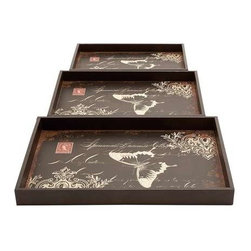 """Benzara - Trays Decorated with Bold Butterfly Motif - Set of 3 - Trays decorated with bold butterfly motif - set of 3. These well-designed wood leather trays flaunt a charming, elegant appeal. It comes with the following dimensions 21"""" W x 15"""" D x 2"""" H. 19"""" W x 13"""" D x 2"""" H. 17"""" W x 11"""" D x 1.5"""" H."""