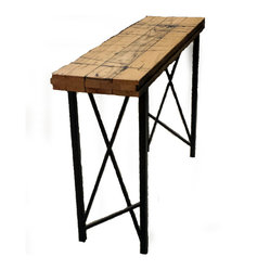 Circle Goods - Boxcar Entry Way Table - Add some welcome style to your entryway with this extremely cool table. With a top constructed of reclaimed oak boxcar flooring (complete with its original scarring) supported by asymmetrical steel legs, it adds industrial edge to any space.