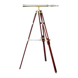 "30-inch Polished Brass Telescope on Hardwood Tripod - This beautiful solid brass refractor telescope is mounted on a solid brass and hardwood tripod.  The telescope uses precision ground glass optics to produce a bright and clear 24-power non-inverted image.  The 30"" telescope is focused by rotating a large adjusting ring near the eyepiece.  The telescope is 29"" long with a main tube 2.25"" in diameter, and has an objective lens diameter of 42 mm.  A removable 2.75"" diameter brass cap protects the objective lens.  The telescope is mounted on a sturdy two-section telescoping rich cherry-stained solid hardwood tripod with heavy brass castings.  The height of the telescope is adjustable from a minimum height of 37"" to a maximum height of 59"" tall.  The telescope is easily removed from the tripod, and the tripod collapses efficiently for compact storage.  The telescope with tripod weighs 15.25 lbs.  This beautiful brass telescope is perfect for your office or home, near a view window, for viewing the water, landscape, the Moon and Jupiter."