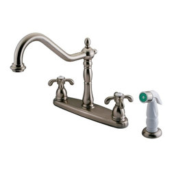 "Kingston Brass - Double Handle 8"" Centerset Kitchen Faucet with White Sprayer KB1758TX - Victorian style Two Handle Deck Mount, Widespread 4 hole Sink application,  Non-Metallic (ABS) Side Spray, Fabricated from solid brass material for durability and reliability, Premium color finish resist tarnishing and corrosion, 360 degree turn swivel spout, 1/4 turn On/Off water control mechanism, 1/2"" - 14 NPS male threaded inlets, Duraseal washerless valve, 2.2 GPM (8.3 LPM) Max at 60 PSI, Integrated removable aerator, 9-1/2"" spout reach from faucet body, 11"" overall height, Ten Year Limited Warranty to the original consumer to be free from defects in material and finish.. Manufacturer: Kingston Brass. Model: KB1758TX. UPC: 663370111617. Product Name: Double Handle 8"" Centerset Kitchen Faucet with White Sprayer. Collection / Series: French Country. Finish: Satin Nickel. Theme: Classic. Material: Brass. Type: Faucet. Features: Includes Plastic Sprayer"