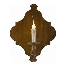 """Aidan Gray - Pair of Blason Sconces by Aidan Gray - Romanticize your room with two of the Blason Sconces, by Aidan Gray, flanking a mirror over your sofa. Just the perfect amount of light for complete relaxation. A solitary candelabra bulb sits central on the artistically shaped and gold leaf finished backing. Sold as a pair, these would also be a great accent flanking a doorway. 60 W (AG) 14""""w x 10.5""""d x 18""""h"""