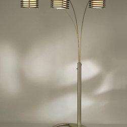 NOVA Lighting - Kimura 3 Light Arc - Kimura 3 Light Arc-Chrome,Brushed Nickel,White Linen Shade, Matte Black Shade