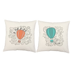 RoomCraft - Hot Air Balloon Escape Throw Pillow Covers 16x16 White Shams - FEATURES: