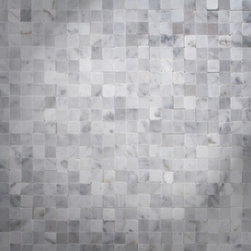 "Newport Collection Carrara Marble Tight Joint Mosaic Tile - Polished Carrara Marble Tightjoint Tile.  This Tightjoint tile has been designed to interlock so that when each tile is placed together and grouted they fit seamlessly together.  Each mosaic piece is 3/8"" x 3/8"".  It can be used for both commercial and residential settings.  We recommend it for kitchen backsplashes, bathroom floors and walls as well as wet areas (i.e. shower floors and walls).  The mesh backing not only simplifies installation, it also allows the tiles to bend and seperate easily.  Chip"