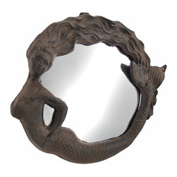 Zeckos - Cast Iron Mermaid Wall Mounted Mirror Rust Color - This lovely wall mounted mirror features a mermaid frame, and easily mounts to the wall with just a single nail or screw. Made of cast iron, it measures 11 inches long, 9 inches high, and 1 inches deep. The mirror has a rust colored patina, giving the piece an antique look. It adds a wonderful accent anywhere in your home, especially in rooms with beach or nautical decor.