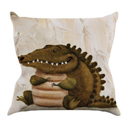 """Kess InHouse - Rachel Kokko """"Smiley Crocodiley"""" Tan Green Throw Pillow (16"""" x 16"""") - Rest among the art you love. Transform your hang out room into a hip gallery, that's also comfortable. With this pillow you can create an environment that reflects your unique style. It's amazing what a throw pillow can do to complete a room. (Kess InHouse is not responsible for pillow fighting that may occur as the result of creative stimulation)."""