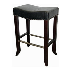 "ARTeFAC - RV-1000 Antique Leather Saddle Stool, Black, 30"" Bar Seat Height - RV-1000 Antique Leather Saddle Stool"