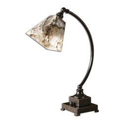 Carolyn Kinder - Carolyn Kinder Marius Task Transitional Desk Lamp X-1-83892 - Grab sophisticated style with the Uttermost Marius Task Transitional desk Lamp. Its shade comes in Ivory Marble and has a square taper style that is a delight. The body has a gentle arch and comes in Oil Rubbed Bronze for a classic appeal.
