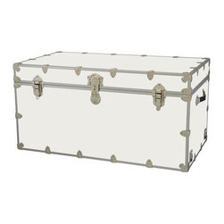Rhino - Toy Trunk - White (Jumbo) - Choose Size: JumboWheels are not included. Includes two nickel plated steel universal wheel adapter plates. Wheel adapter plates mounted on side of the trunk. American craftsmanship. Several obscure ventilation holes to provide plenty of air should your child ever go into the trunk and have someone close it on them. Strong hand-crafted construction using both old world trunk making skills and advanced aviation rivet technology. Steel aircraft rivets are used to ensure durability. Heavy duty proprietary nickel plated steel latches and hardware. Heavy duty nickel plated steel lid hinges plus lid stays for keeping lid propped open. Tight fitting steel tongue and groove lid to base closure to keep out moisture, dirt, insects, odors etc.. Stylish lockable nickel plated steel trunk lock has loop for attaching padlock. Discrete ventilation holes. Special soft-close lid stay. Nylon cordura exterior laminate. Lifetime warranty. Made from 0.38 in. premium grade baltic birch hardwood plywood with nickel-plated steel hardware. Large: 32 in. W x 18 in. D x 14 in. H (29 lbs.). Extra large: 36 in. W x 18 in. D x 18 in. H (36 lbs.). Jumbo: 40 in. W x 22 in. D x 20 in. H (67 lbs.). Super jumbo: 44 in. W x 24 in. D x 22 in. H (69 lbs.)Safety First! A superior quality, heavy-duty toy trunk that¢s designed for a child¢s well-being, yet looks handsome in any room. Toy Trunk is constructed from the highest quality components. This treasure chest incorporates several safety features to insure that it¢s child friendly. Those include small ventilation holes should a child ever decide to climb in and take a nap, as well as specially designed, American made soft-close lid stays. The lid stays keep the lid from slamming shut. In fact, the lid will only close if you push it down. This will keep small hands protected. Also, the toy trunk will not lock on its own. Toy Trunk are conveniently sized and ruggedly built. They¢re strong enough to stand on! Best of al