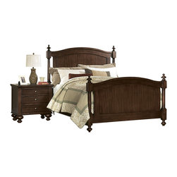 Homelegance - Homelegance Aris 2 Piece Poster Bedroom Set in Warm Brown Cherry - Classic in design and bold in style, the Aris collection makes for an inviting presence in your bedroom. Large bun feet serve to support the massive yet elegantly simple case pieces, while the warm brown cherry finish on select hardwoods and veneers completes the overall look.