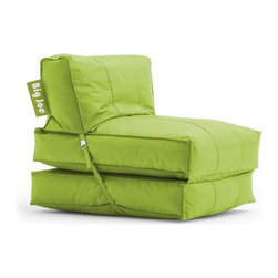 Comfort Research - Comfort Research Big Joe Flip Lounger - Spicy Lime - The Big Joe Flip Lounger gives you the versatility that you deserve. It can be used as a chair or a lounger in just a snap. Secure the clasps and you have a great extra chair -unhook them and open it up to a full 6' lounger. Great for any room in your house! Made with tough, stain and water-resistant SmartMax Fabric. Filled with UltimaX Beans that conform to you. Double stitched and double zippers for added strength and safety. Spot clean.
