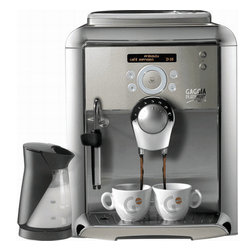 Gaggia - Gaggia Platinum Swing Up with Milk Island - Gaggia's focus on innovation optimizes the machine's simplicity, ease of use, and most importantly, the quality of each shot of espresso. The Gaggia Platinum Swing Up Super-Automatic Espresso Machine is characterized by a user-friendly interface – a circular dial in the center works similar to an iPod click wheel, allowing you to swing your finger to select the function. Above this touch ring dial is the 24-character LCD screen, which shows your beverage options and programming choices.