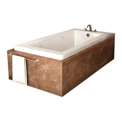 Spa World Corp - Atlantis Tubs 4272VNAL Venetian 42x72x23 Inch Rectangular Air Jetted Bathtub - The Venetian series bathtubs resemble simplicity set in classic design. A rectangular, minimalism-inspired design turns simplicity of square forms into perfection of symmetry.  An airpool bathtub creates thousands of warm bubbles that stimulate the skin's light touch receptors, producting an overall calming effect.  An air blower works like a giant hair dryer, taking the room temperature air, increasing it by approximately 30-degrees and blowing it through the bath.  Air baths differ from a whirlpool in that the massage is much softer.  Drop-In tubs have a finished rim designed to drop into a deck or custom surround.  They can be installed in a variety of ways like corners, peninsulas, islands, recesses or sunk into the floor.  A drop in bath is supported from below and has a self rimming edge that is designed to sit over a frame topped with a tile or other water resistant material.  The trim for the air or water jets is featured in white to color match the tub.