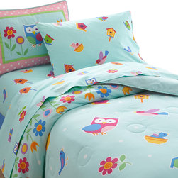 Wildkin - Olive Kids Birdie Full Comforter Set - Our Birdie bedding is something to tweet about! The comforter/quilt is scattered with birds, flowers and birdhouses on a robins egg blue. Rows of flowers are at top and bottom. Super soft, 100% cotton.  The coordinating shams feature an owl and flowers with embroidered details and ribbon trim.