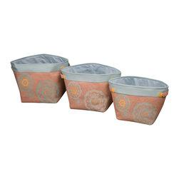Enchante Accessories Inc - Natural Burlap Storage Bins (Set of 3), Aqua - Set of 3 burlap storage bins with contrast color trim and contrast linings