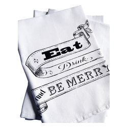 The Coin Laundry - 'Eat Drink and Be Merry' Napkins - Liven up your holiday table with these charming 100% cotton napkins. Our napkins are hand silk screened with Earth friendly inks and solvents, are washable, reusable and a great way to save on paper napkin waste. Plus they class up any table setting. They make a great host gift too!