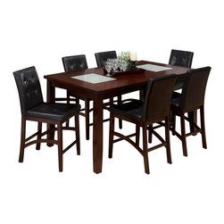 Jofran - Jofran 863-42 Chadwick 8-Piece Rectangle Counter Height Table Set in Espresso - This contemporary look can serve as both casual and formal dining space in your home. The table and server feature two crackled glass inserts adding a touch of luxury. Pair that with the beautifully crafted tufted parson chair with shaped stretchers and you can't go wrong. This collection is available in both dining and counter height and would be the perfect addition to any dining space.
