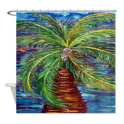 usa - Funky Palm Shower Curtain - Beautiful shower curtains created from my original art work. Each curtain is made of a thick water resistant polyester fabric. The permanently applied art work appears on the front side with the inside being white. 12 button holes for easy hanging, machine washable and most importantly made in the USA. Shower rod and rings not included. Size is a standard 70''x70''