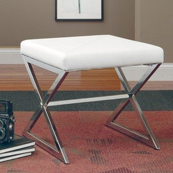 Coaster Ottomans Ottoman with Metal Base, White Faux Leather - This bench has great lines and comes at a great price.