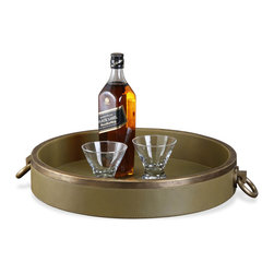 Kathy Kuo Home - Forest Green Leather Rustic Lodge Antique Brass Round Serving Tray - Serve up some cocktails, coffee or hors d'oeurves on this luxurious leather round serving tray. Sage green is accented with two antique brass handles for carrying all kinds of tempting treats.