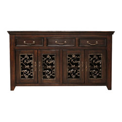 Artisan Home Furniture - Artisan Home Marbella 63 Inch TV Console - Solid hardwoods give durability and strength. Multi-step lacquer finish protects wood and adds beauty to the entire collection. Provides additional strength on drawers. Makes sturdy and durable quality cases. Ensures a smooth glide and easy operation.
