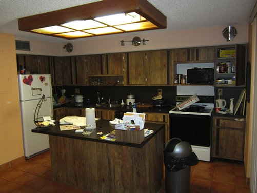 How to redecorate this late 70s kitchen on a budget please for Kitchen design 70s