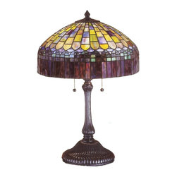 Meyda Tiffany - Meyda Tiffany Candice Tiffany Table Lamp X-22362 - Scallop and grid detailing create a surprisingly intricate design on this Meyda Tiffany table lamp. From the Candice Collection, this elegant design features traditionally crafted art glass in varying shades of green, amber and purple. The frame is zinc cast with a classic Antique finish that compliments the Tiffany inspired styling of the design.