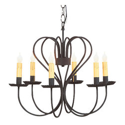 Large Georgetown Chandelier in Textured Black - With the graceful and decorative sweep of its arms, our Georgetown Chandelier introduces a clean and simple design that works with almost any decor whether it be traditional or modern. This easy to maintain fixture simulates the welcome glow that has greeted family and friends for ages.