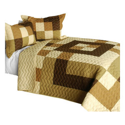Blancho Bedding - [Desert Fun] 3PC Vermicelli-Quilted Patchwork Quilt Set-Queen - The [Desert Fun] 3PC Vermicelli-Quilted Patchwork Quilt Set (Full/Queen Size) includes a quilt and two quilted shams. This pretty quilt set is handmade and some quilting may be slightly curved. The pretty handmade quilt set make a stunning and warm gift for you and a loved one! For convenience, all bedding components are machine washable on cold in the gentle cycle and can be dried on low heat and will last for years. Intricate vermicelli quilting provides a rich surface texture. This vermicelli-quilted quilt set will refresh your bedroom decor instantly, create a cozy and inviting atmosphere and is sure to transform the look of your bedroom or guest room. (Dimensions: Full/Queen quilt: 90.5 inches x 90.5 inches; Standard sham: 24 inches x 33.8 inches)