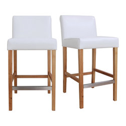 None - Cosmopolitan Modern White Leather Counter Stools (Set of 2) - Place these tall counter stools in your home to instantly create an inviting environment. The padded seats and wooden footrests promote comfort, and the sleek armless design is impressively modern. They're a perfect addition to any dining or lounge area.