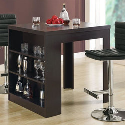 Monarch Specialties - 3-Pc Counter Set w Table - Includes counter table and two bar stools. Table: . Three open shelves. Made from hollow core. Cappuccino finish. 35.5 in. W x 31.5 in. D x 35.5 in. H (57 lbs.)Stool: . Chrome finished pedestal base. Hydraulic lift to adjust the seat height. Footrest for added comfort. Black finish. 16.25 in. W x 18 in. D x 44.75 in. H (34.76 lbs.)