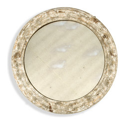 "Kathy Kuo Home - Belfast Country Rustic Distressed Painted 36"" Wall Mirror - Reminiscent of an old wood cracked frame with a heavily distressed painted finish, this is the perfect understated round mirror."