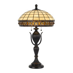 """Cal Lighting - Arts and Crafts - Mission CharltonTiffany-Style Dark Bronze Table Lamp - With a nod toward classic Art Nouveau lighting this Tiffany-style table lamp offers a wonderful accent for your decor. The amber glass shade has a tile pattern rim of glass at edge. Dark bronze base has delicate piping and two scroll accents. Dark bronze finish. Tiffany-style glass in amber and tile pattern. Resin construction. Takes two 60 watt or equivalent bulbs (not included). 27 1/2"""" high. Shade is 18"""" wide 8"""" high. Base is 6 3/4"""" wide.  Tiffany-style glass.  Amber tile pattern.  Dark bronze finish.  Resin construction.  A Cal Lighting table lamp design.  Takes two 60 watt or equivalent bulbs (not included).  27 1/2"""" high.  Shade is 18"""" wide 8"""" high.  Base is 6 3/4"""" wide."""