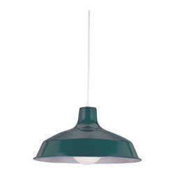 Sea Gull Lighting - Pendant Single-light Emerald Green Finish - This single-light stem pendant comes in an emerald green finish. This very on-trend,industrial chic warehouse pendant uses globe shaped bulbs for increased light output and includes 54 inches of cut-able cord for adjustable hanging lengths.