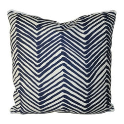 "Pillow - Zig Zag Grande Navy - An Oomph favorite - subtle shades of rain-washed, camel or charcoal on cream ground, linen fabric. An updated classic that compliments our neutral color palette. Quiet oomph. Dimensions: 22"""" square. Insert: 90/10 feather/down with zipper for ease of cleaning. Made in U.S.A."
