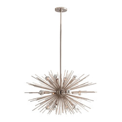 Kathy Kuo Home - Zanadoo Polished Nickel Modern Industrial Starburst Chandelier - A blast of modern glamour shines out in all directions from this silver starburst hanging chandelier. With an eye-catching design of spikey polished nickel rods, this ultra-modern piece adds a gleaming focal point to your contemporary home or industrial loft.