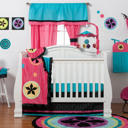 """Magical Michayla - Infant Set (3pc - no bumper) - Let the """"Magic"""" of """"Magical Michayla"""" come to life in a room filled with color!  Bold black surrounded by Kaleidoscope like patterns showcased in hues of pink, blue, green, yellow, purple and orange make this collection perfect for all personalities.   This 3pc set includes:  crib bed skirt, crib sheet, and a coordinating medium quilt. Bed skirt showcases """"Magical Michayla"""" magic rows cotton print fabric trimmed in pink, black and turquoise fabric creating a simplistic detail to final touches on this collection.  Crib sheet accents the """"Magical Michayla"""" designer print fabrics in our solid turquoise blue.  Offered in cotton fabric. Magical Michayla coordinating quilt is like no other.  Soft minky on both sides make this the perfect blanket anytime and anywhere!  Pink on one side with detailed appliqu�s in Kaleidoscope patterns with turquoise blue on the opposite side.  Quilt is trimmed in black satin to make this the softest of quilts.  SAVE WHEN YOU BUY AS A SET!"""