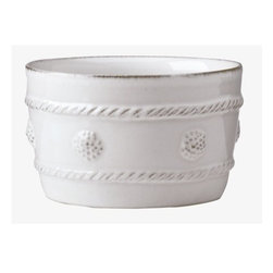 """Juliska - Juliska Berry and Thread Ramekin Whitewash - Juliska Berry and Thread Ramekin Whitewash.Slightly oversized ramekin is the most versitile item in your kitchen! Use for herbed butters, petit souffles, or for an assortment of nibbles. Dimensions: 4"""" W x 2.5"""" H Capacity: 8 oz"""