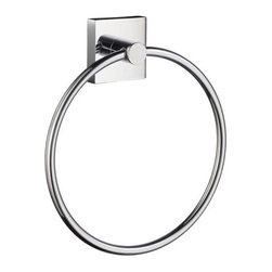 House Collection Towel Ring - The square backplate and sleek Chrome finishes will instantly update your modern bathroom. Perfect for keeping a hand towel within reach, this sturdy towel ring is solid brass.