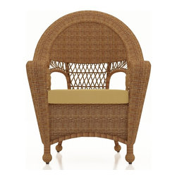 Forever Patio - Catalina Patio Rattan Dining Chair, Straw Wicker, Wheat Cushions - Enhance your dining experience with the traditionally styled Forever Patio Catalina Dining Chair in Straw Wicker with Gold Sunbrella® Cushions (SKU FP-CAT-DC-ST-CW). The UV-protected, straw-colored wicker incorporates subtle shifts in tones, providing a look that is complex and beautiful. This chair includes a fade- and mildew-resistant Sunbrella® cushion, available in a wide selection of colors.