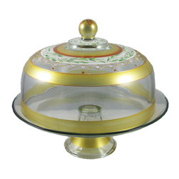Mosaic Gold Garland Cake Dome - This lovely hand painted cake dome is from our Mosaic collection and inspired by the colorful tiles of the Alhambra.  Something to be handed down from generation to generation.  Proudly hand painted in the USA.