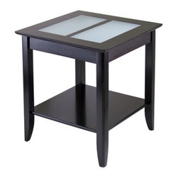 """Winsome - Syrah End Table - Features: -Elegant.-Made out of solid beechwood.-Two frosted glass tiles inlaid in the table top.-Convenient storage shelf.-Valuable as well as stylish addition to any home.-Finished in Espresso.-Syrah collection.-Collection: Syrah.-Top Finish: Espresso.-Base Finish: Espresso.-Distressed: No.-Powder Coated Finish: No.-Gloss Finish: No.-Base Material: Solid and composite wood.-Top Material: Hardwood and glass.-Solid Wood Construction: No.-Hardware Material: Metal.-Nesting Tables: No.-Non-Toxic: Yes.-UV Resistant: No.-Scratch Resistant: No.-Stain Resistant: No.-Lift Top: No.-Storage Under Table Top: No.-Drop Leaf Top: No.-Magazine Rack: No.-Built In Clock: No.-Drawers Included: No.-Hardware Finish: Metal.-Exterior Shelves: Yes -Number of Exterior Shelves: 1.-Adjustable Exterior Shelves: No..-Cabinets Included: No.-Glass Component: Yes -Tempered Glass: No.-Beveled Glass: No.-Frosted Glass: Yes..-Legs Included: Yes -Number of Legs: 4..-Casters: No.-Lighted: No.-Stackable: No.-Reclaimed Wood: No.-Adjustable Height: No.-Outdoor Use: No.-Weight Capacity: 75 lbs.-Swatch Available: No.-Commercial Use: No.-Recycled Content: No.-Eco-Friendly: No.-Built In Outlets: No.-Cable Management: No.-Powered: No.Specifications: -FSC Certified: No.-EPP Compliant: No.-CARB Compliant: Yes.-ISTA 3A Certified: No.-ISTA 1A Certified: No.-General Conformity Certificate: No.-Green Guard Certified: No.-ISO 9000 Certified: No.-ISO 14000 Certified: No.-UL Listed: No.Dimensions: -Overall Height - Top to Bottom: 24"""".-Overall Width - Side to Side: 22.6"""".-Overall Depth - Front to Back: 22.6"""".-Overall Product Weight: 28 lbs.-Shelving: Yes.-Legs: Yes.Assembly: -Assembly Required: Yes.-Tools Needed: All pieces are included.-Additional Parts Required: No.Warranty: -Product Warranty: Replacement parts within 60 days from date of purchase."""