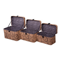 Enchante Accessories Inc - Train Case Storage Boxes Nested (Set of 3) - Set of 3 nested train cases with colorful, vintage inspired prints