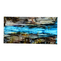 Hand Painted Original Direct from Artist - Jon Allen - Brown and Blue Abstract Painting - River of Dreams by Jon Allen - The Jon Allen Collection is an exclusive, hand-selected group of my most personal work to date. Each piece is hand-painted on aluminum. My art itself and my chosen medium, aluminum, are blissfully married. You may not think of the word organic when you hear the word metal, but this is some of my most organic art and that's simply because metal allows my work to achieve true sentience. Aluminum's naturally reflective nature enables each color, shape, and stroke to reach its full potential. A new aspect of the painting will reveal itself to you as it basks in the light that surrounds, evades, or envelops it in that moment. When you see the piece from different angles, you will appreciate how vibrant, dynamic, and environmentally influenced these pieces are. What you may see and feel by morning is not what you'll see or feel by dusk and in many ways, and as such I feel these pieces capture the ever-ebbing and complex nature of human emotion and perception.