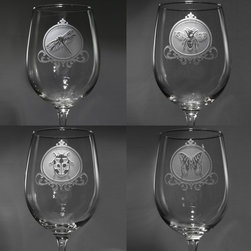 "Crystal Imagery, Inc. - Dragonfly, Lady Bug, Butterly, Bumble Bee Wine Glass Set, Stemware - Engraved Insects Wine Glass Set includes beautiful flying insects deeply etched into each wine glass featuring a dragonfly, ladybug, bumblebee and butterfly. Deeply carved using our sand carving technique, each wine glass is meticulously custom made to order making it the perfect gift for those seeking unique gift ideas for wine lovers - men and women alike. At 9"" high by 3.5"" wide, our wine glasses hold 19 oz. A set of these etched wine glasses will be the favorite gift at any special gift giving occasion. Dishwasher safe. SOLD AS A SET OF 4."