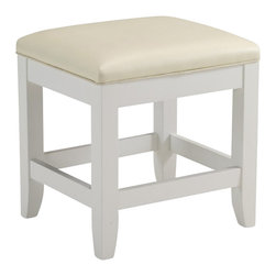 Home Styles - Home Styles Naples Vanity Bench in White Finish - Home Styles - Vanity Benches - 553028 - The Naples Vanity Bench is finished in a multi step white finish over hardwood solids with a cream vinyl cushioned seat and slightly flared legs._� The bench is protected with a clear coat finish to withstand normal wear and tear._� It is constructed with an eco friendly hardwood.