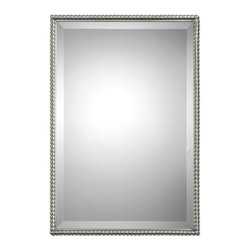 Beaded Nickel Rectangle Mirror - *Brushed nickel, metal frame features a decorative beading design.